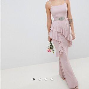 Mauve/ blush pink bridesmaid dress